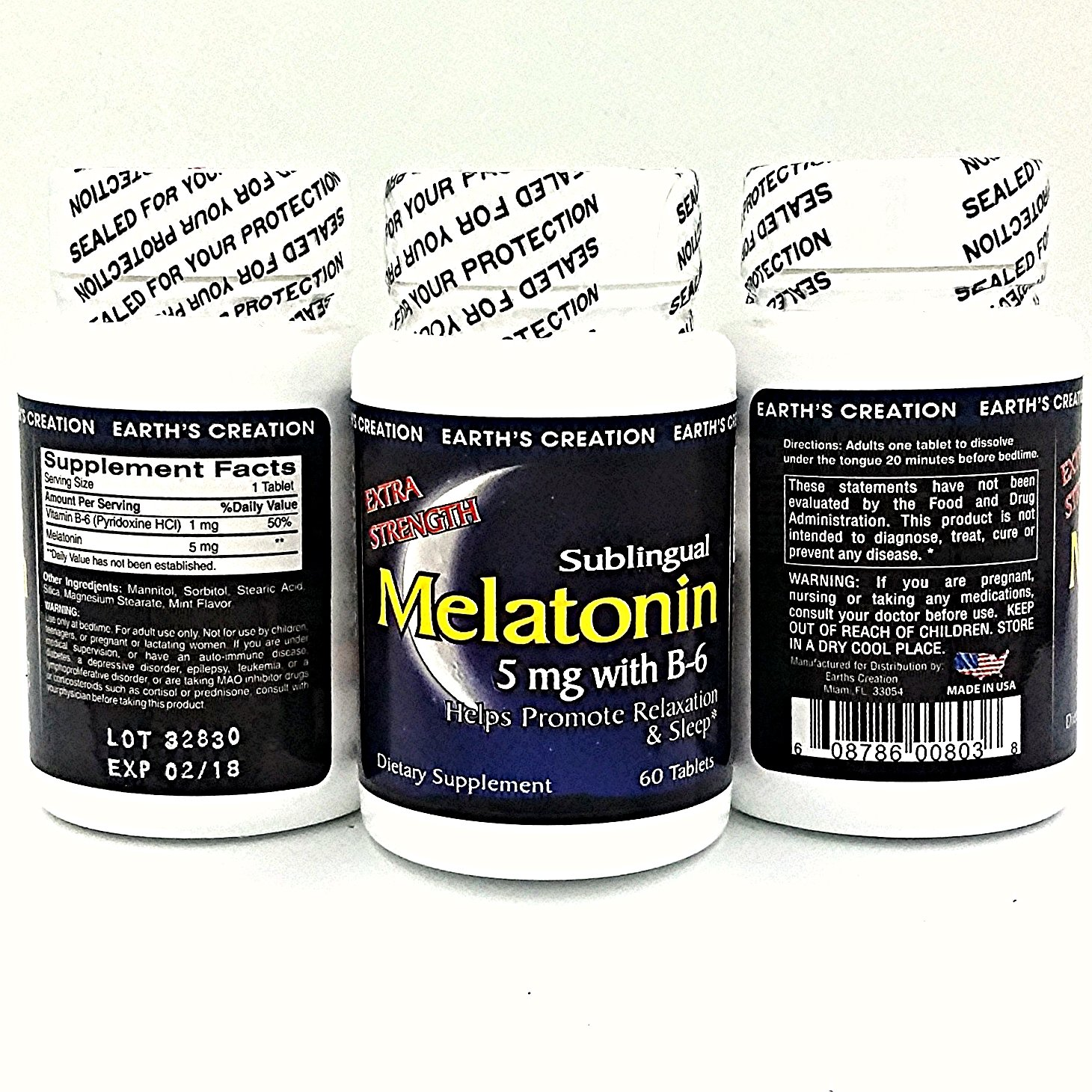 Amazon.com: Earths Creation Melatonin 5mg with B-6 - Natural sleep aid - 60 Tablets: Health & Personal Care