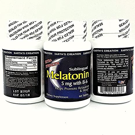 Amazon.com: Earths Creation Melatonin 5mg with B-6 - Natural sleep ...