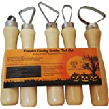 Pumpkin Carving Tools 5 Piece Set - Best Pro Level Carving Kit - Different Loop Sizes