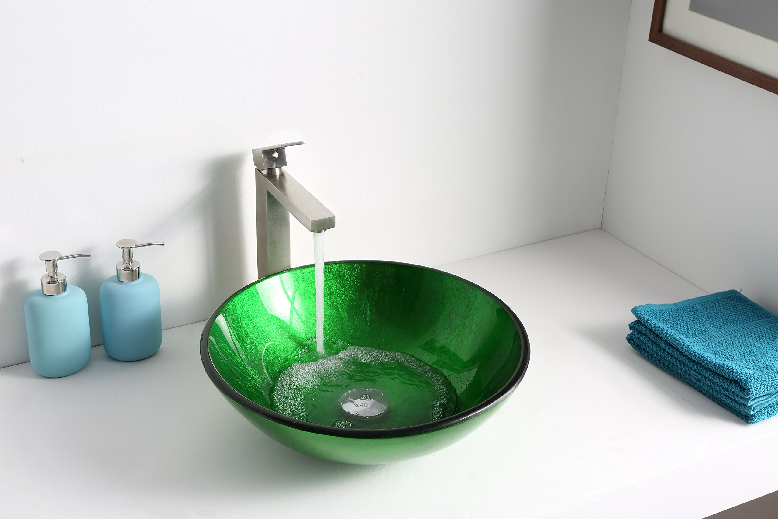 Tempered Glass Vessel Sink - Lustrous Green - Melody Series LS-AZ077 - ANZZI by ANZZI (Image #3)