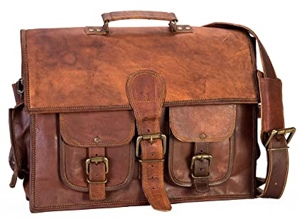 Image Unavailable. Image not available for. Color  16 inch Men s Genuine Leather  Vintage Laptop Messenger Handmade Briefcase Bag Satchel ... b1a3db129174f