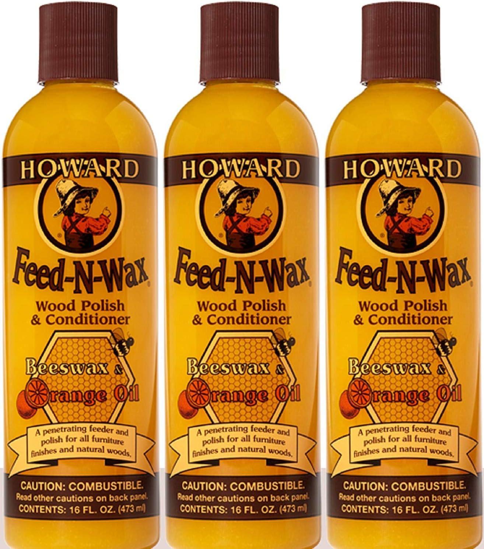 Howard Products FW0016 Wood Polish & Conditioner, 16 oz, orange, 16 Fl Oz (3)