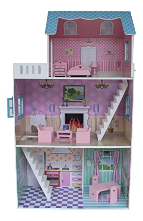 Liberty House Toys Townhouse Dollhouse With Furniture (Multi Colour)