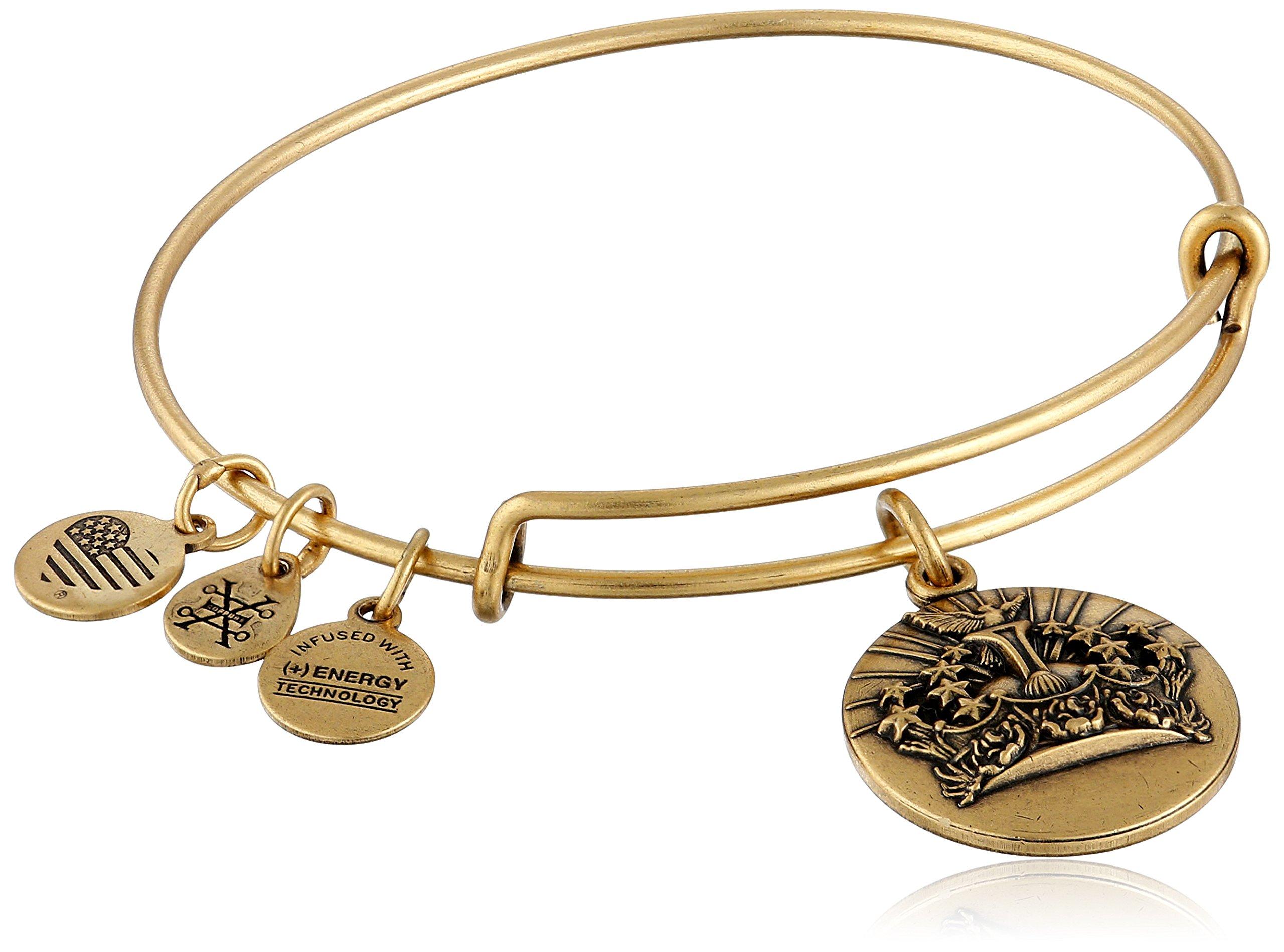 Alex and Ani Queen's Crown II Expandable Rafaelian Gold Bangle Bracelet