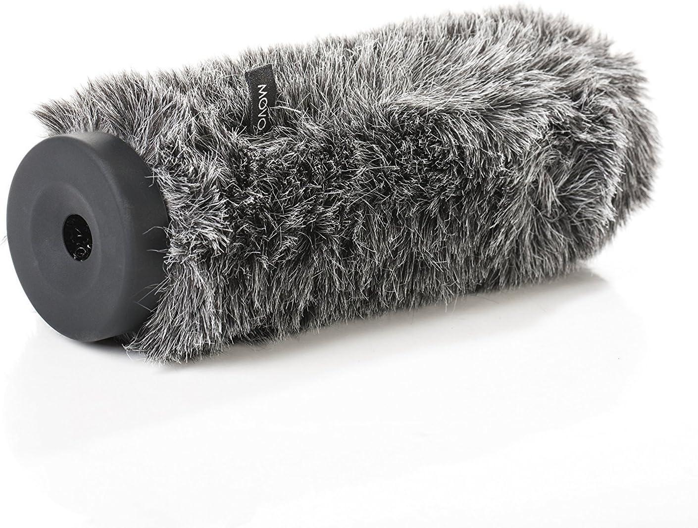 マイク用Movo WS-G300毛皮のような硬質ウインドスクリーン直径18-23mm、最大11.8インチ(30cm)まで - ダークグレー