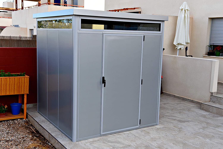 Thermoestank Caseta de Jardín Metal con Aislamiento térmico con Marcos de Aluminio y Vidrio cámara 3.27 x 2.04 MTS: Amazon.es: Jardín
