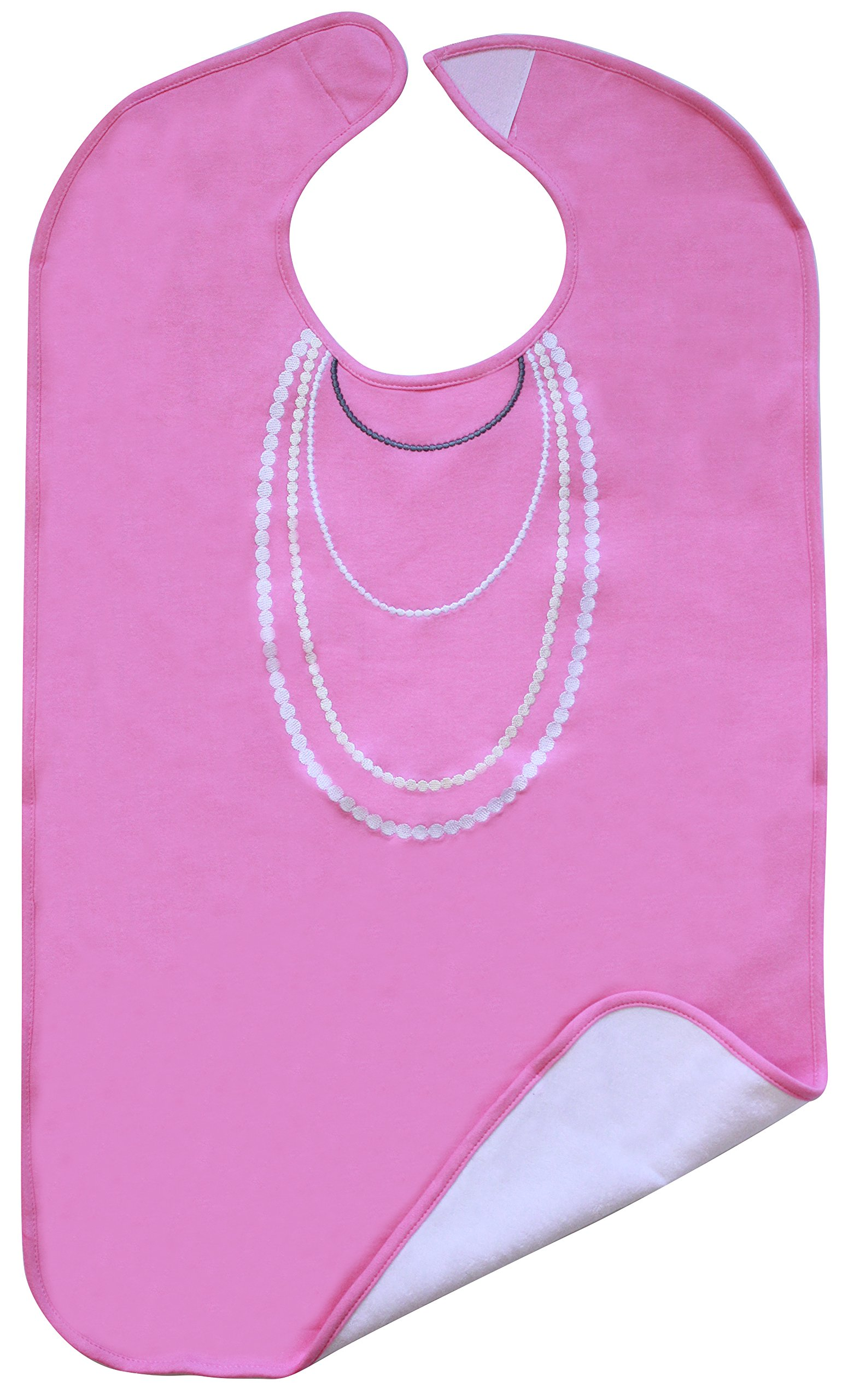 Ladies Adult Bib, Pink with White Pearl Embroidery, Frenchie Mini Couture