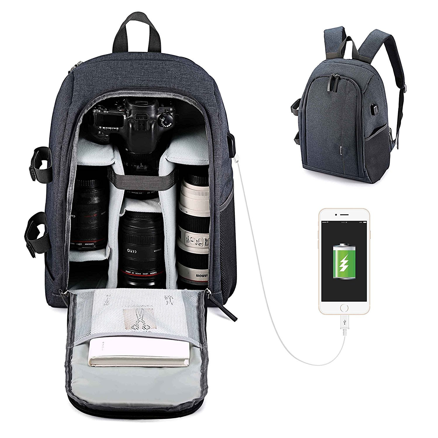 Usbagtech Camera Backpack Waterproof Shockproof DSLR SLR Cameras bag with Tripod Strap for Sony Canon Nikon Olympus, Lens and Accessories, Grey