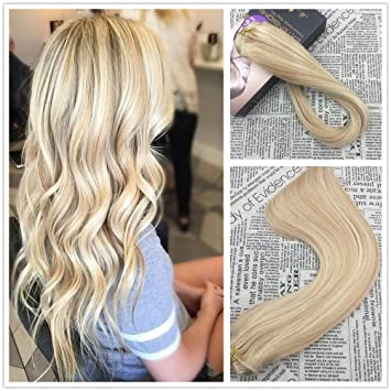 Amazon Com Moresoo 18 Inch Clip In Human Hair Extensions Two Tone
