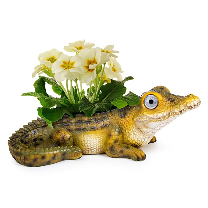 Alligator Planter Pot with Solar Eyes | Garden Patio Statue Decor - Yard Figurines | Outdoor Decorations for Deck and Pond | Weather Resistant LED | Cute Present | Auto On/Off - (Alligator Green)