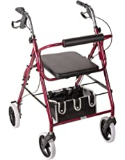 DMI Lightweight Adjustable Seat Height Aluminum Rollator Walker with Cushioned Backrest, Hand Brakes, Flip-Up Seat and Front Swivel Wheels, Burgundy