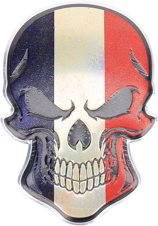 3d Metall Skull Totenkopf Sticker Logo Emblem Badge Auto Aufkleber Frankreich France