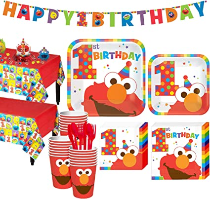 Party City 1st Birthday Elmo Party Kit For 32 Guests Includes Table Covers Table Decorating Kit And Banners