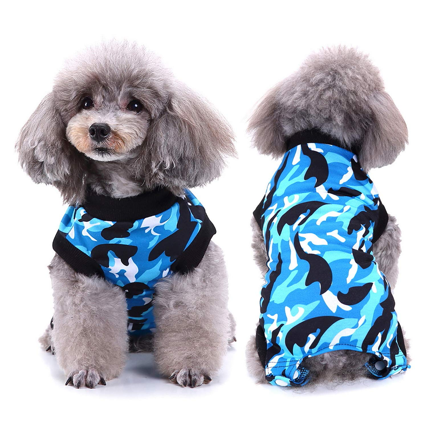 SELMAI Dog Recovery Shirt Pet Belly Guard Cat Onesie Wrap Vest for Pooch After Surgery Puppies Care E-Collar Alternative Clothing Fashion Camo Printing,Blue XS by SELMAI