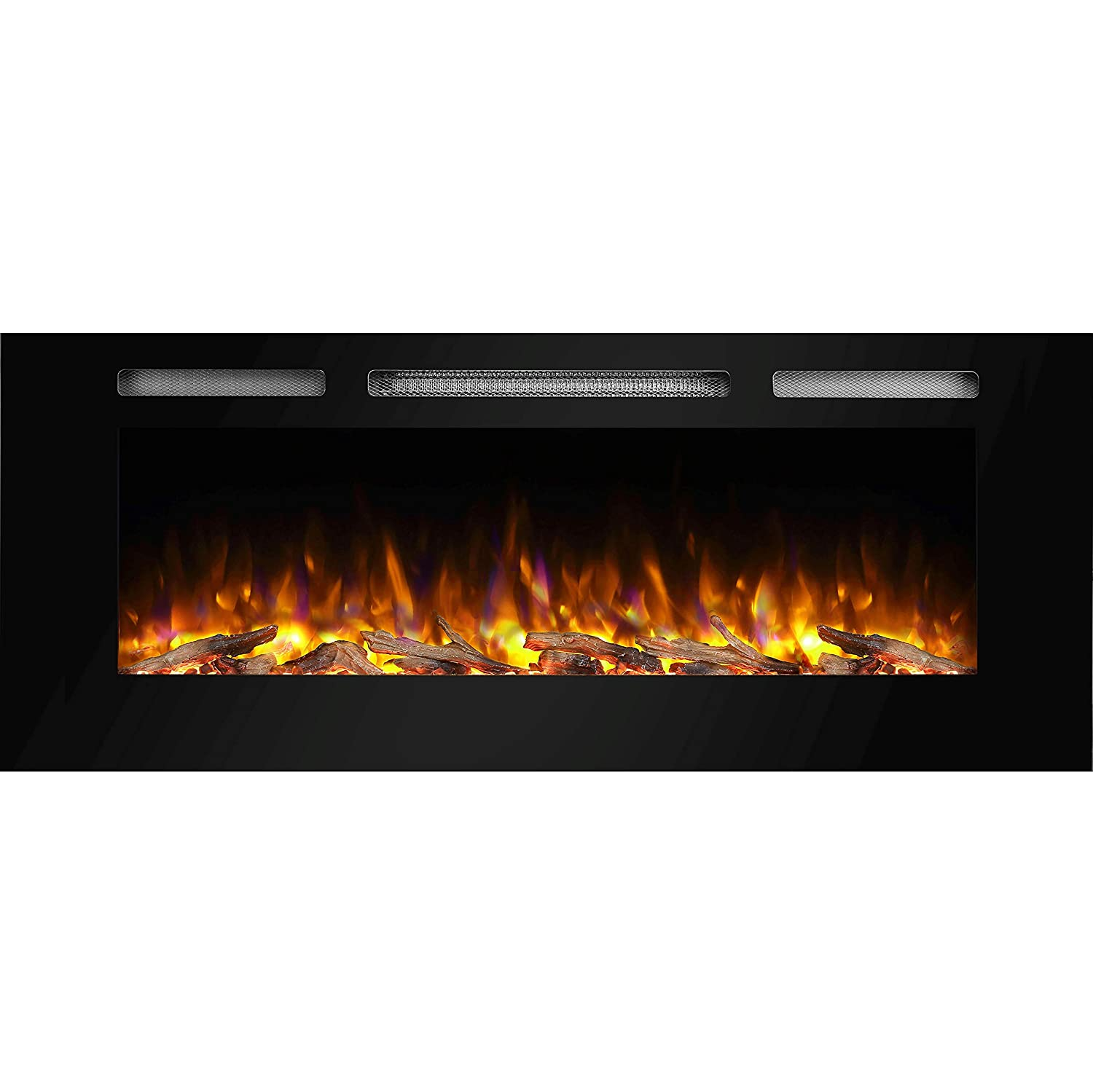 Puraflame Alice 50 Recessed Electric Fireplace Wall Wiring Mounted Fires For 2 X 6 Stud Log Set Crystal 1500w Heater Black Home Kitchen