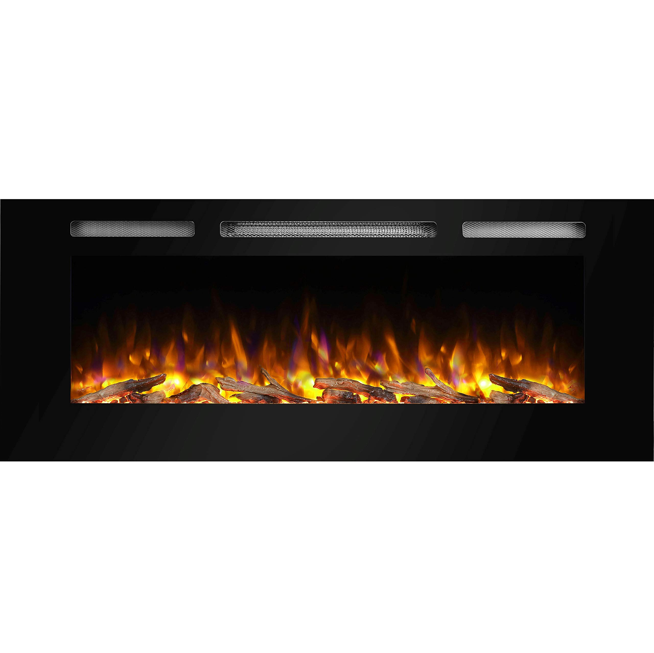 PuraFlame Alice 50 Inches Recessed Electric Fireplace, Wall Mounted for 2 X 6 Stud, Log Set & Crystal, 1500W Heater, Black by PuraFlame