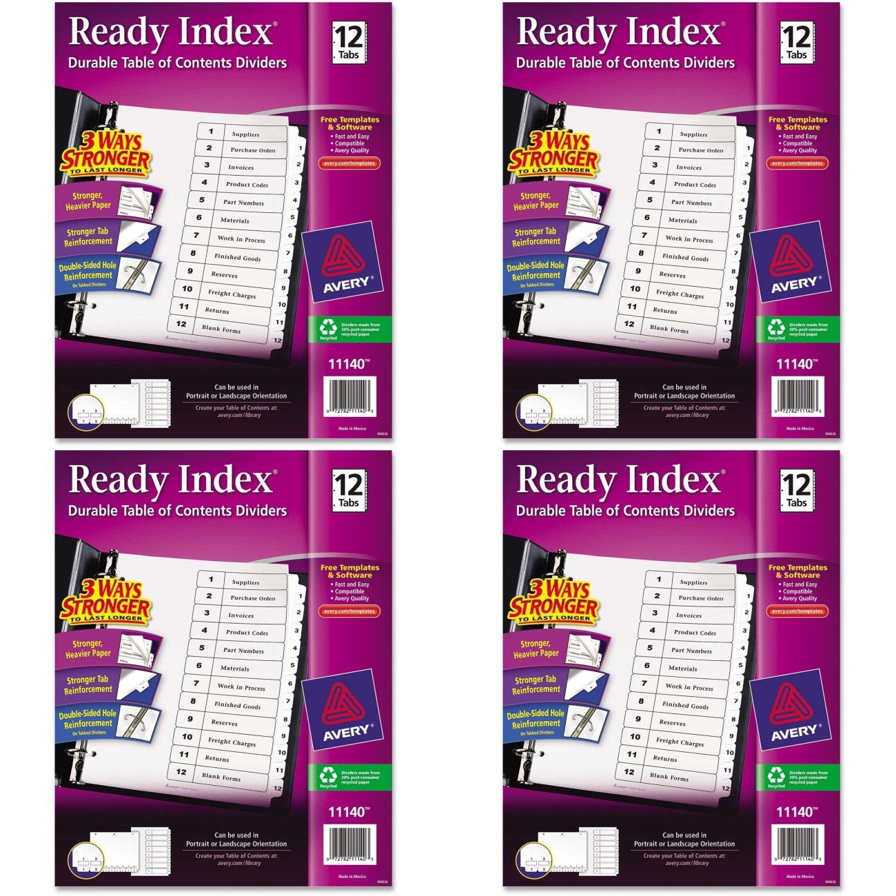 Avery Ready Index Table of Contents Dividers, Black/White, 12-Tab Set (11140), 4 Packs