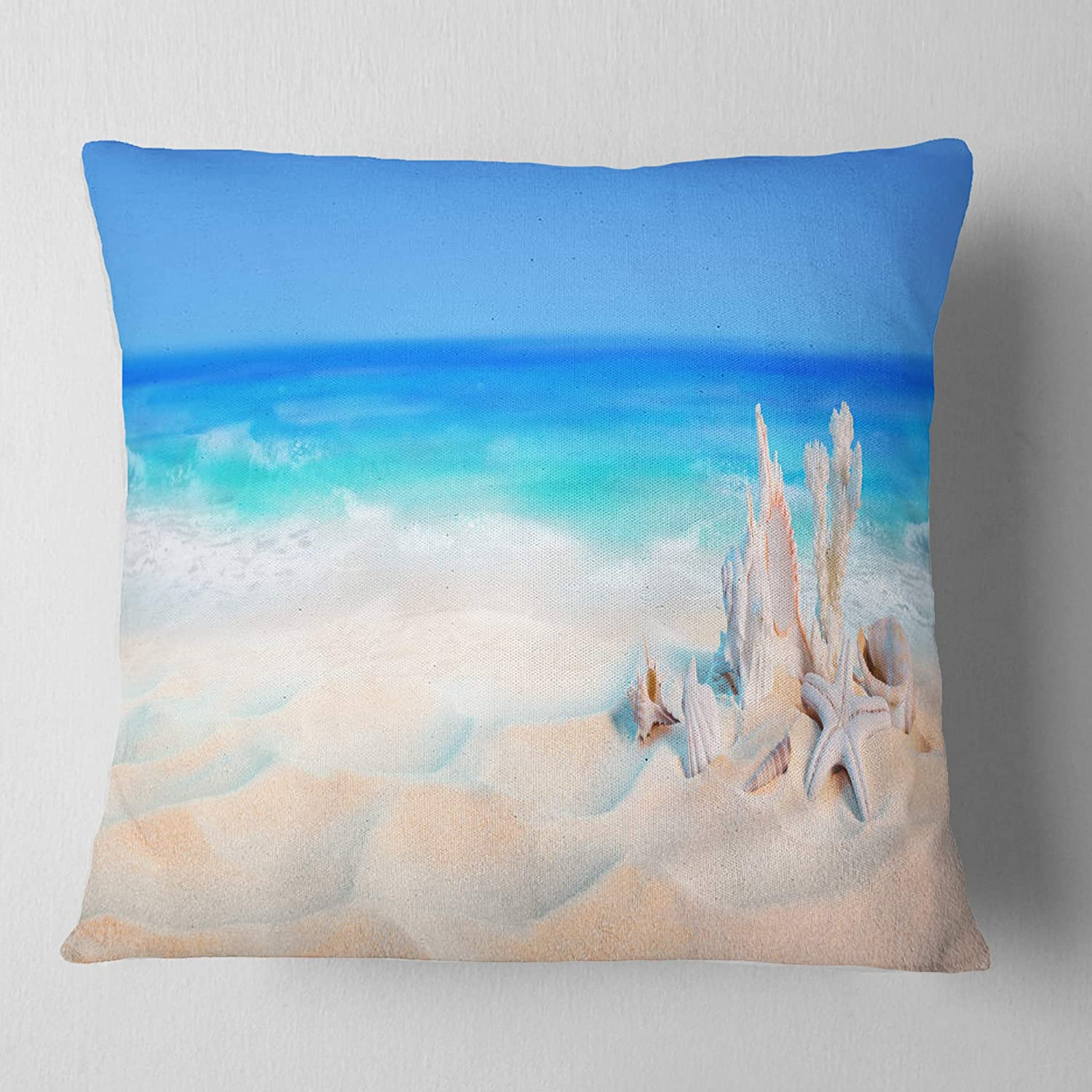 Designart CU8952-26-26 Seashells On Seashore Throw Pillow 26 x 26