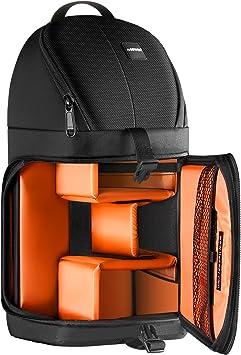 Waterproof Shoulder Backpack Padded Shockproof Camera Case Bag for Nikon Color : Green Orange Camera Bags Cases