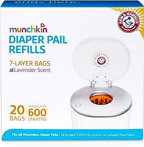 Munchkin Arm and Hammer Diaper Pail Bag Refills 20 Bags, Orange