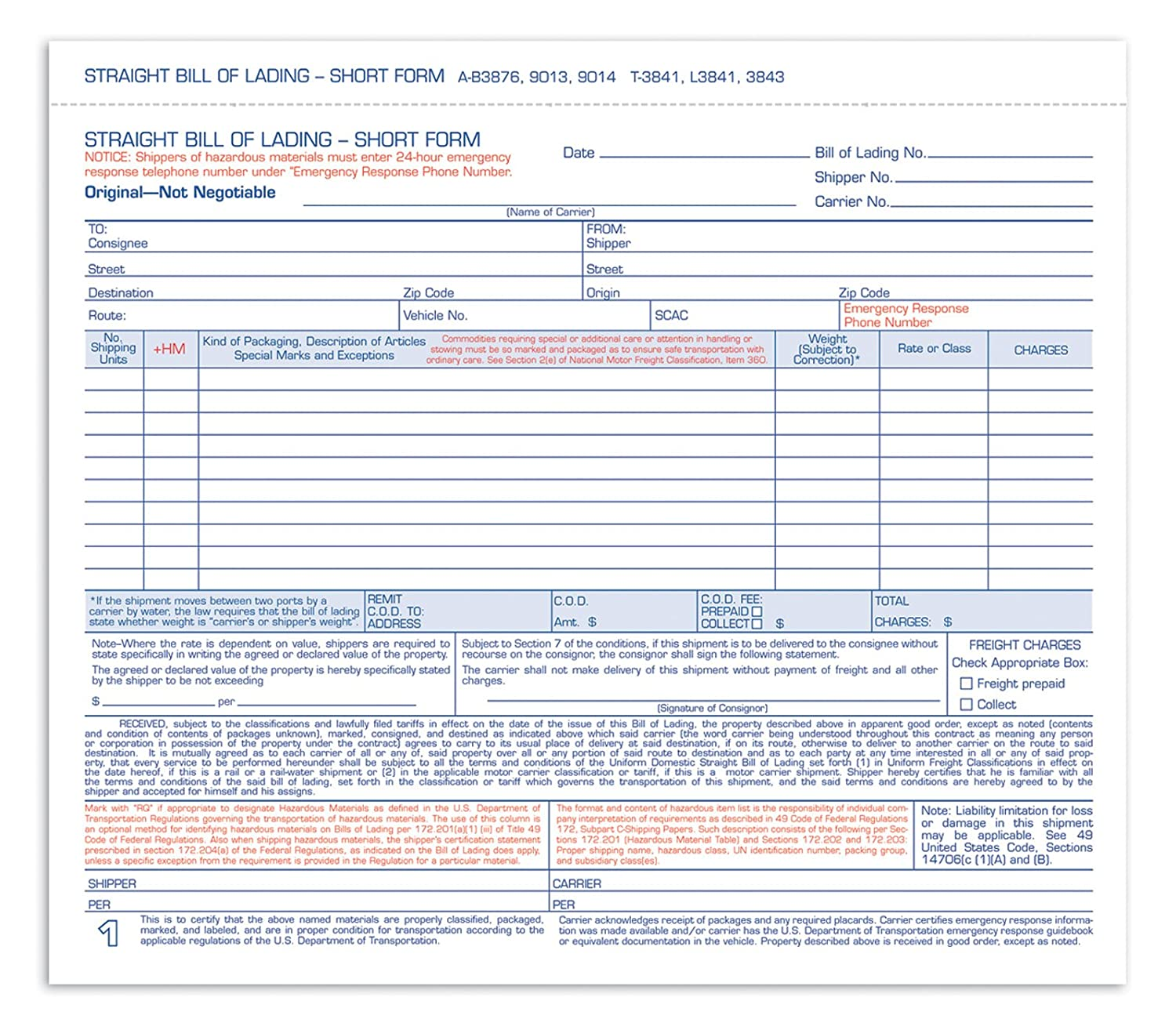 Amazon.com : Adams Bill Of Lading Short Form, 8.5 X 7.5 Inches, 3 Part, 50  Forms, White (9013) : Blank Shipping Forms : Office Products
