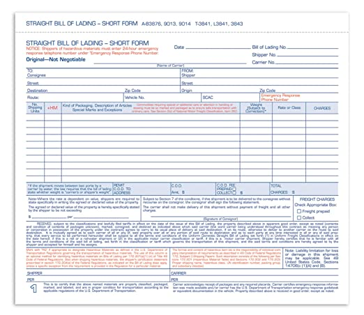 Amazon.Com : Adams Bill Of Lading Short Form, 8.5 X 7.5 Inches, 3