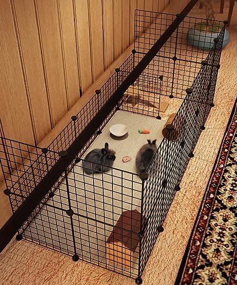 Koossy - Jaula extensible de metal para conejo, cobaya, interior y ...