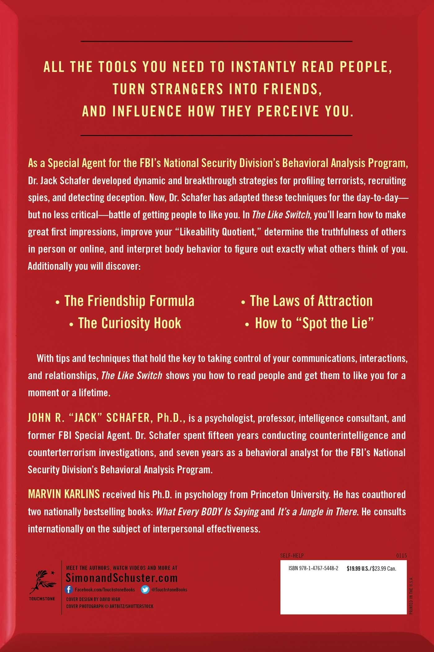 The like switch an ex fbi agents guide to influencing attracting the like switch an ex fbi agents guide to influencing attracting and winning people over jack schafer marvin karlins 9781476754482 amazon books thecheapjerseys Image collections