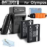 2 Pack Battery And Charger Kit Bundle For Olympus TOUGH TG-1 iHS TG-1iHS TG 1 iHS TG-2 iHS TG-2iHS Waterproof Digital Camera Includes 2 Extended Replacement (1500Mah) LI-90B Batteries + Ac/Dc Rapid Travel Charger + Floating Strap + MicroFiber Cloth