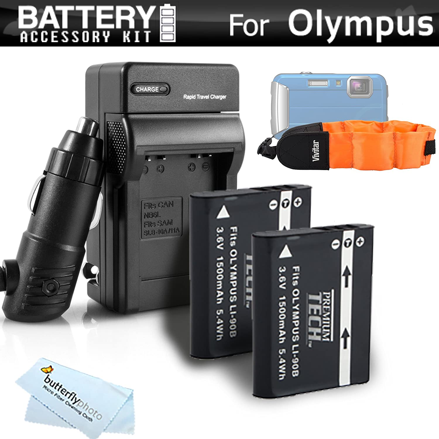 2 Pack Battery And Charger Kit Bundle For Olympus TOUGH TG-1 iHS, TG-2 iHS, TG-2iHS, TG-3, TG-4 Waterproof Digital Camera Includes 2 Replacement (1500Mah) LI-90B, LI-92B Batteries + Charger + More ButterflyPhoto 4331902828