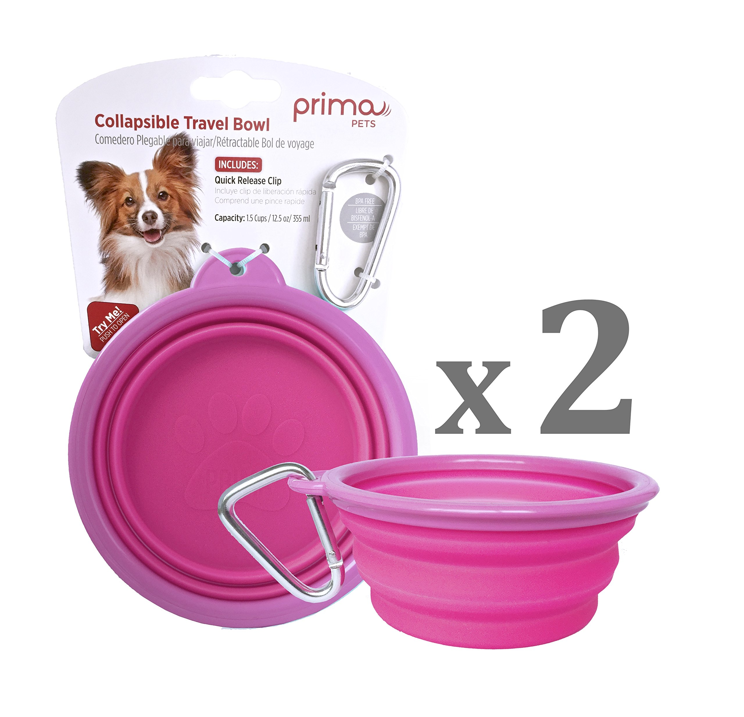 SALE: Prima Pet Collapsible Silicone Water Travel Bowl with Clip for Dog and Cat, Portable and Durable Pop-up Feeder for Convenient On-the-go Feeding – Size: SMALL (1.5 Cups) PINK – 2 PACK