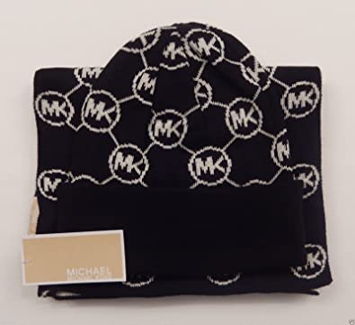 Image Unavailable. Image not available for. Color  Michael Kors Women s 2  Piece Scarf and Hat Set Blk wht Circle Logo Black  dbde15647f91