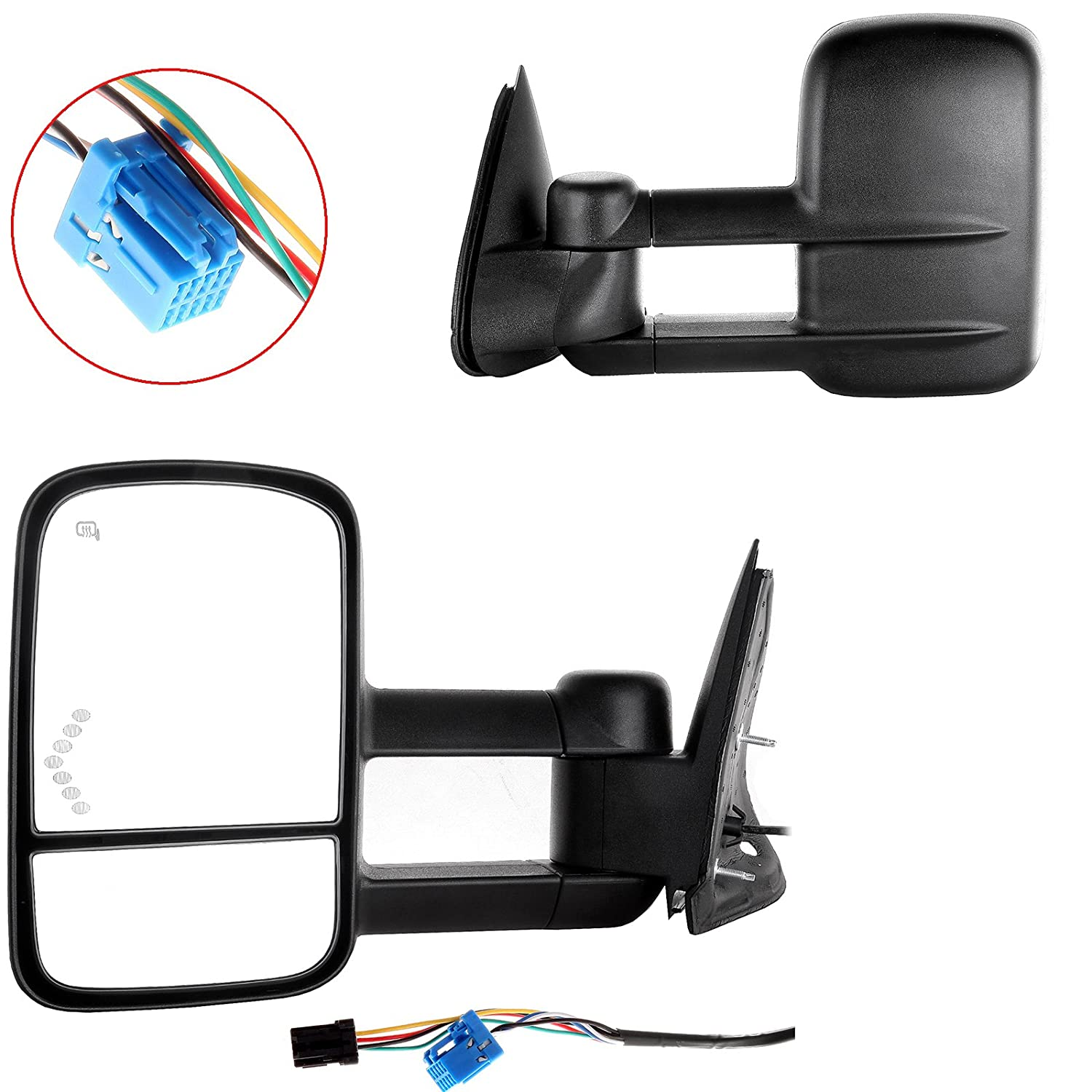 07 CLASSIC ECCPP Towing Mirror Replacement fit for 2003-2006 Chevrolet Silverado Tahoe Suburban Avalanche GMC Sierra Yukon Cadillac Escalade Power Heated LED Signal Clearance Light Pair Mirrors