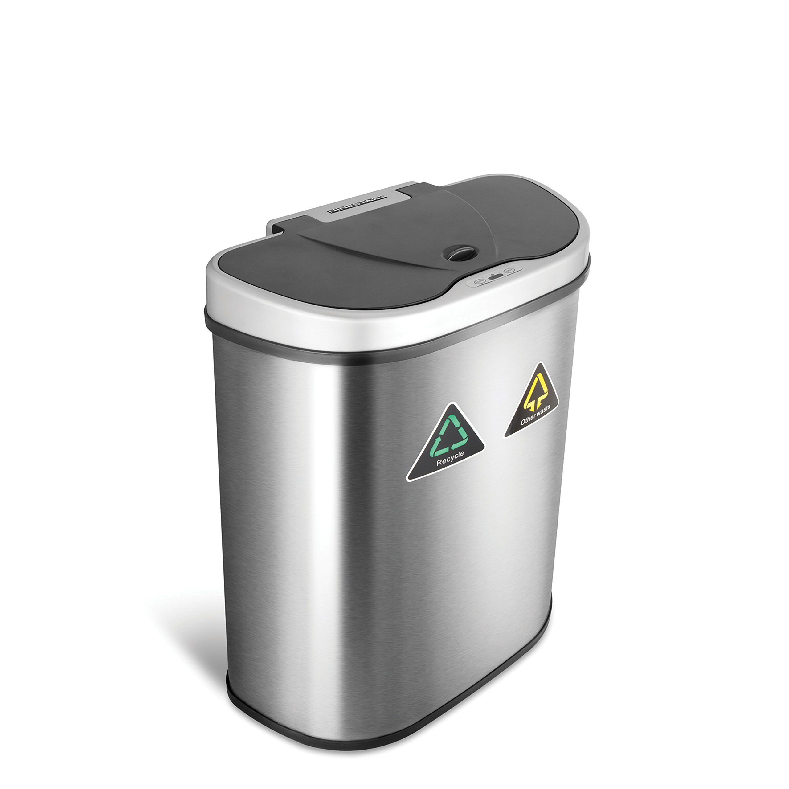 NINESTARS Automatic Touchless Infrared Motion Sensor Trash Can/Recycler with D Shape Silver/Black Lid & Stainless Base, 18 Gal, Stainless Steel by Ninestars