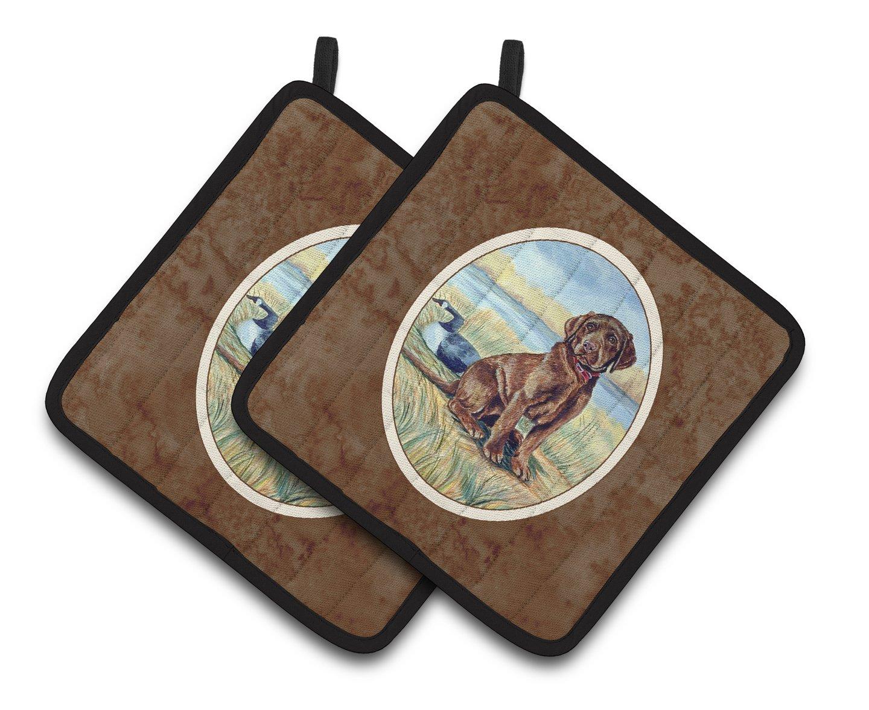 Carolines Treasures Chocolate Labrador Puppy Pair of Pot Holders 7090PTHD 7.5HX7.5W Multicolor