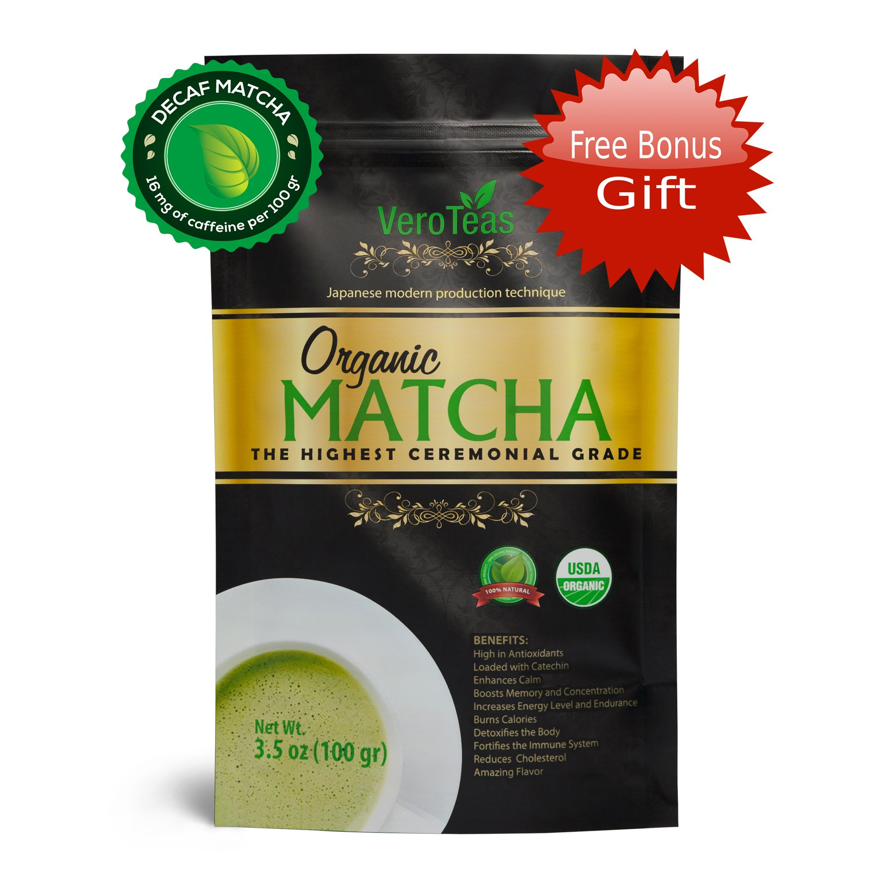 Matcha Green Tea Powder + 2 FREE GIFTS – Organic, Decaf (Low Caffeine), Ceremonial, USDA, Weight Loss – Perfect Culinary Powder – Lattes, Baking – From Japan – For Sipping as Hot & Iced Tea – 3.5 oz