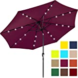 Best Choice Products 10ft Deluxe Solar LED Lighted Patio Umbrella w/Tilt Adjustment (Burgundy)