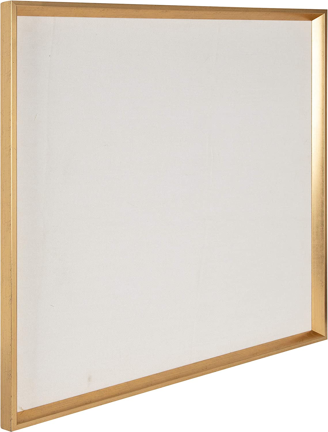 Kate and Laurel Calter Framed Linen Fabric Pinboard, 29.5x29.5, Gold, Modern Wall Organizer for Home or Office