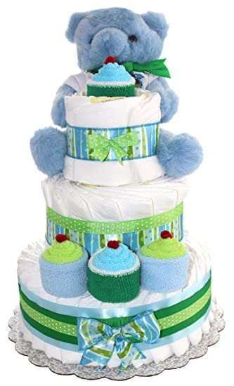 Amazon Com 3 Tier Diaper Cake Blue Teddy Bear Diaper Cake For