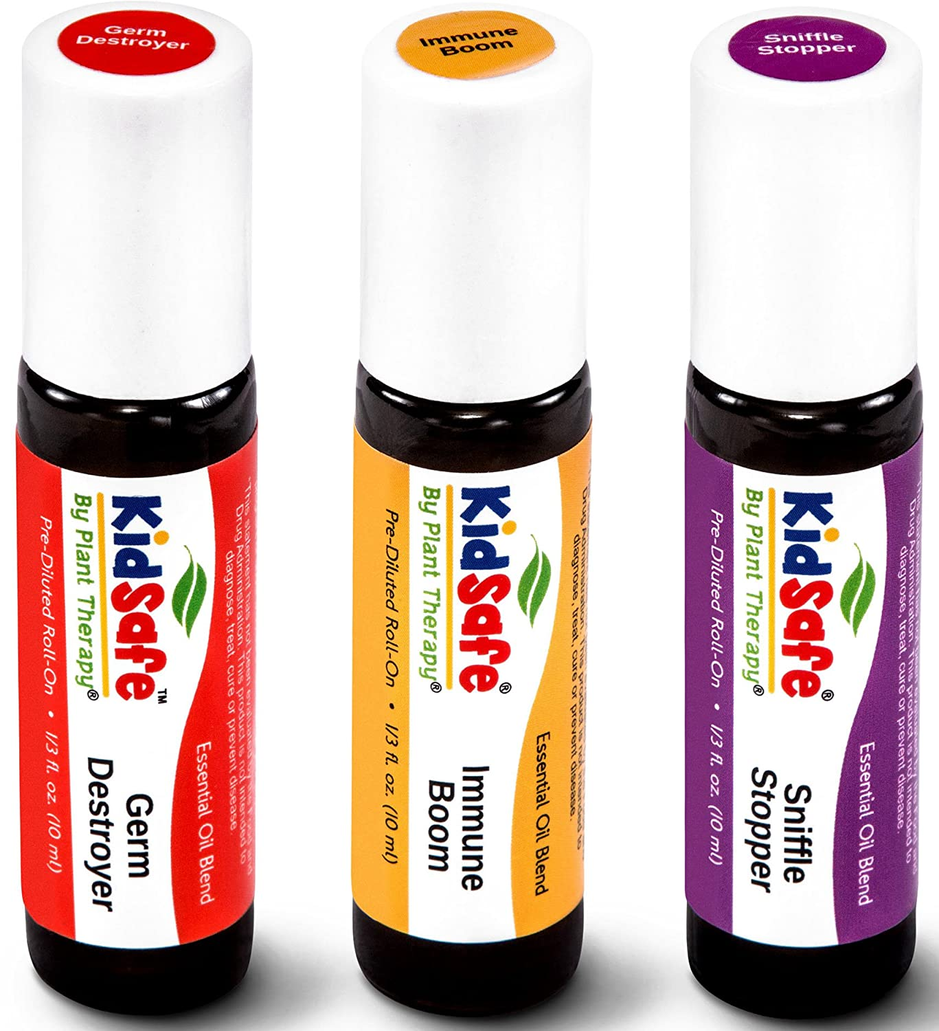 Plant Therapy KidSafe Wellness Roll-On Sampler Set. 100% Pure, Therapeutic Grade Essential Oils Diluted in Coconut Oil. Includes: Germ Destroyer, Immune Boom and Sniffle Stopper. 10 ml (1/3 oz) each. Plant Therapy Inc