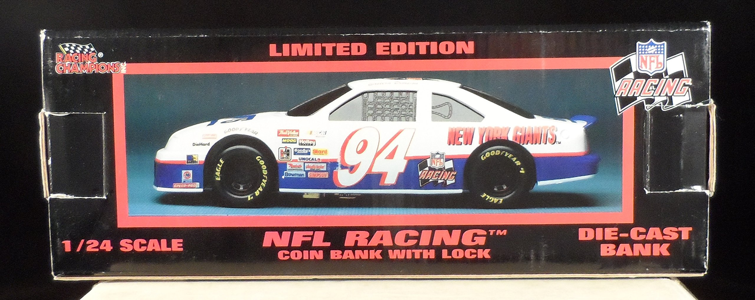 1994 Racing Champions 1:24 Scale New York Giants NFL Die Cast Race Car Bank