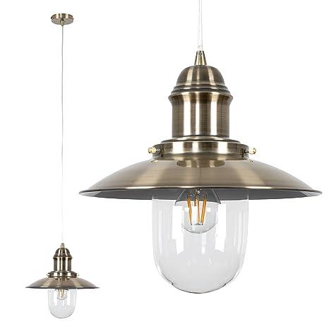 de metálica latón pantalla lámpara techo estilo antiguo MiniSun para de Moderna pescador 29YWDHEI