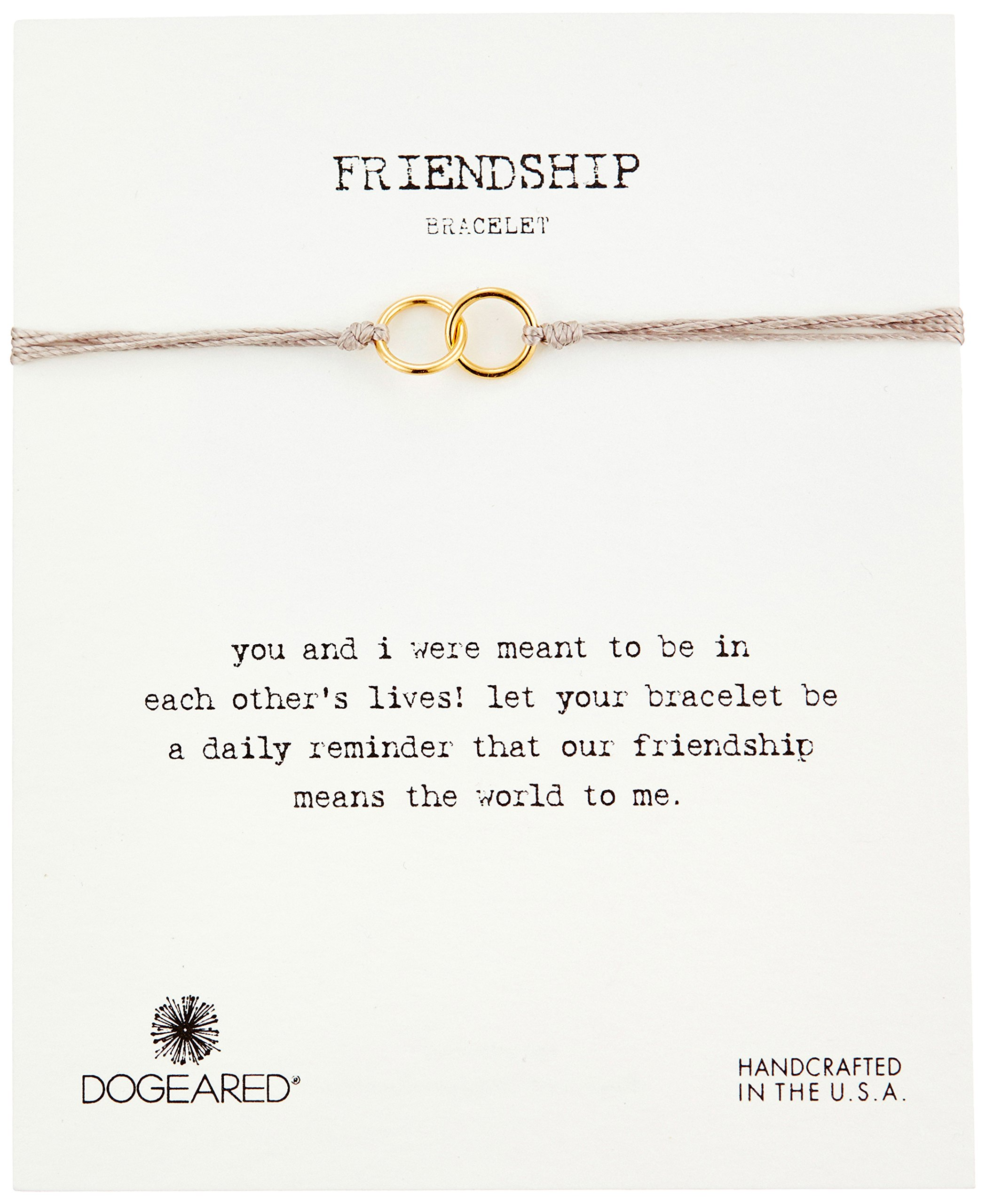 Dogeared Friendship Gold Dipped Double Link Taupe Silk Adjustable Closure Bracelet by Dogeared (Image #1)