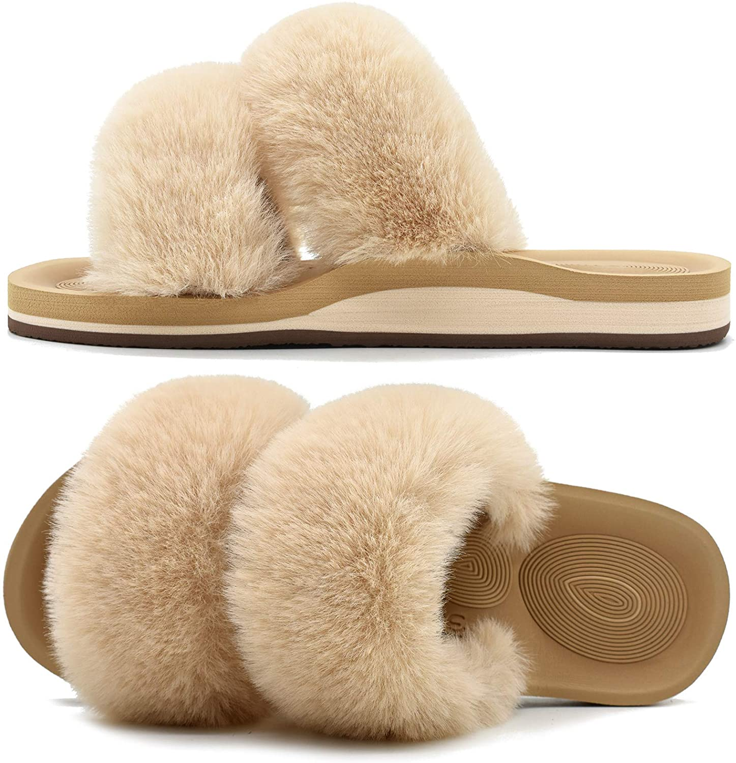 COFACE Womens Fur Sliders Plush Fluffy Slippers Memory Foam Flat Sandals for Ladies Arch Support Nonslip Fur Slides House Shoes Indoor Outdoor