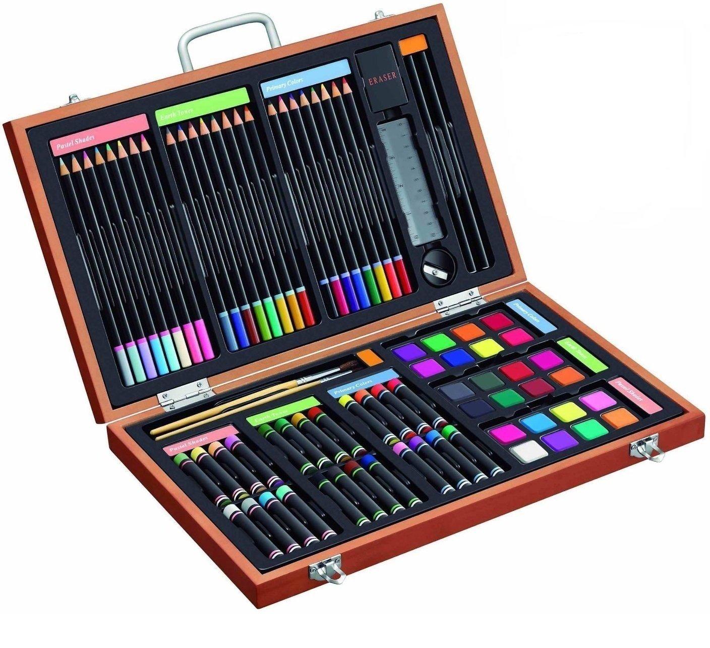 Gallery Studio - 82 Piece Deluxe Art Supplies Set in Wooden Case - Quality Mediums Guaranteed