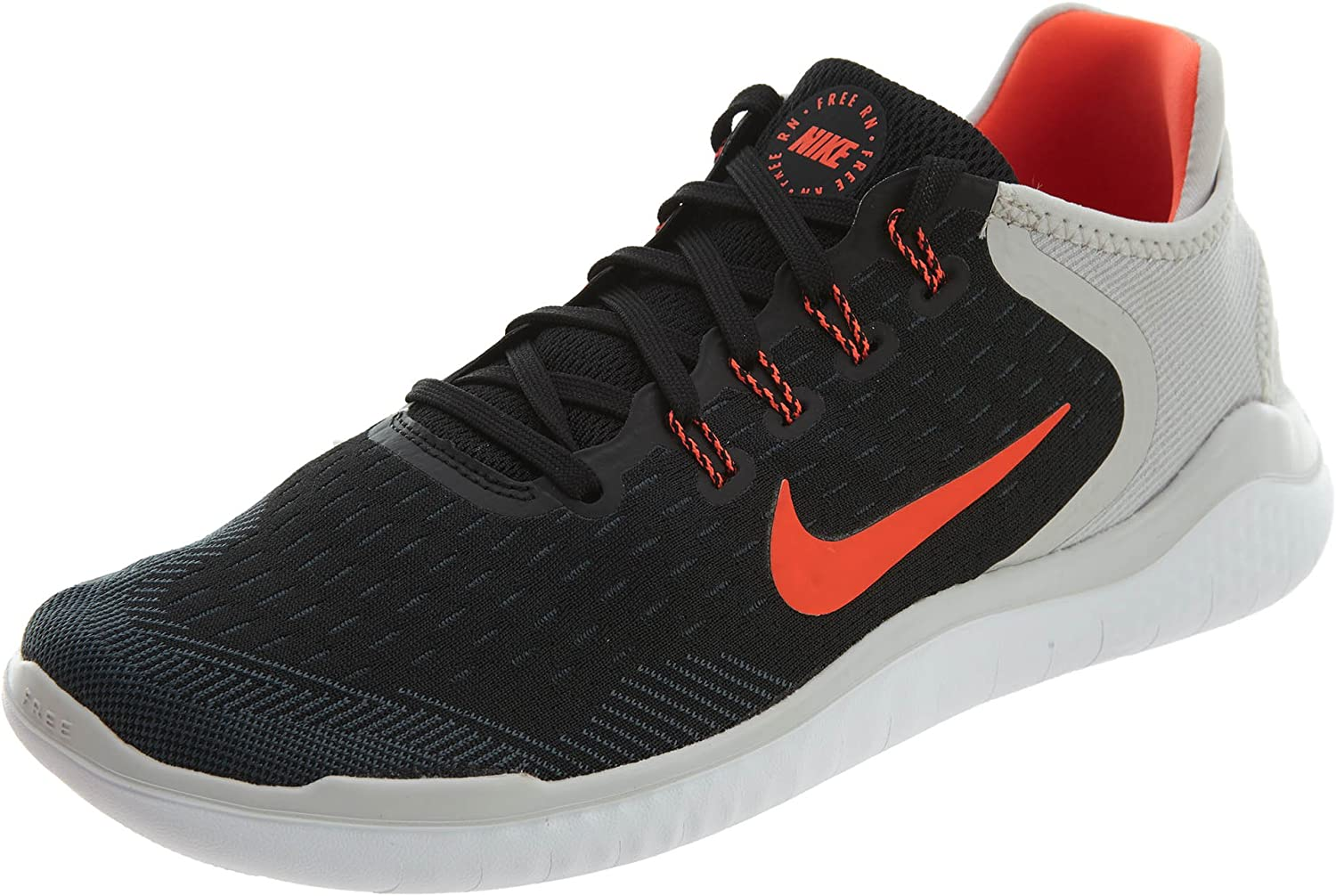 Nike Men's Free RN 2018 Black Total Crimson-Vast Grey-White Running Shoes 10 D M US