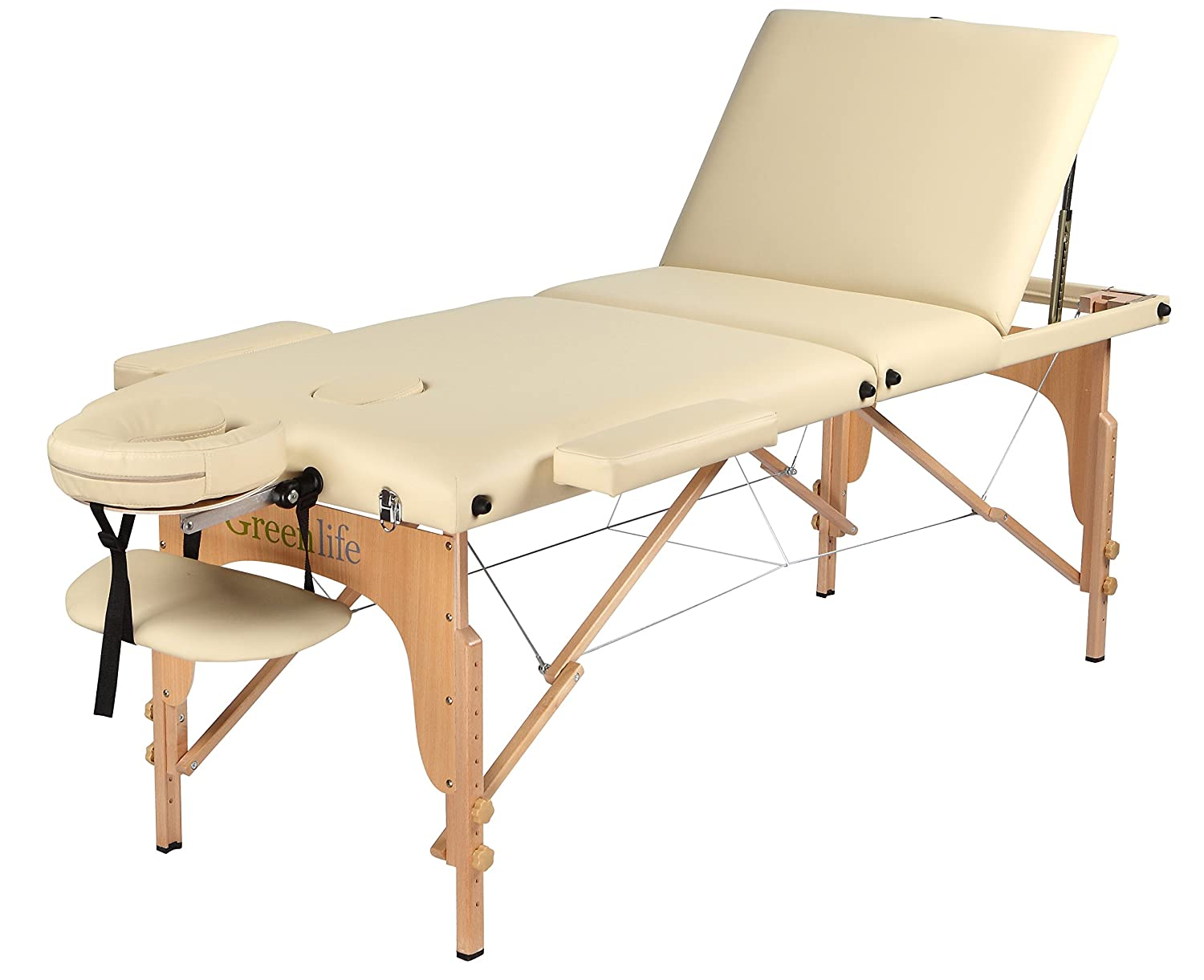 Portable Wooden 3 Fold Massage 3'' or 4' Padding Table Spa Tattoo Reiki Facial Height Adjustable (cream 3''padding) GreenLife