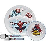 Zak Designs 4 Piece Toddlerific Spiderman Mealtime Set Includes Sectioned Plate, Bowl & Flatware Utensils, Multicolor