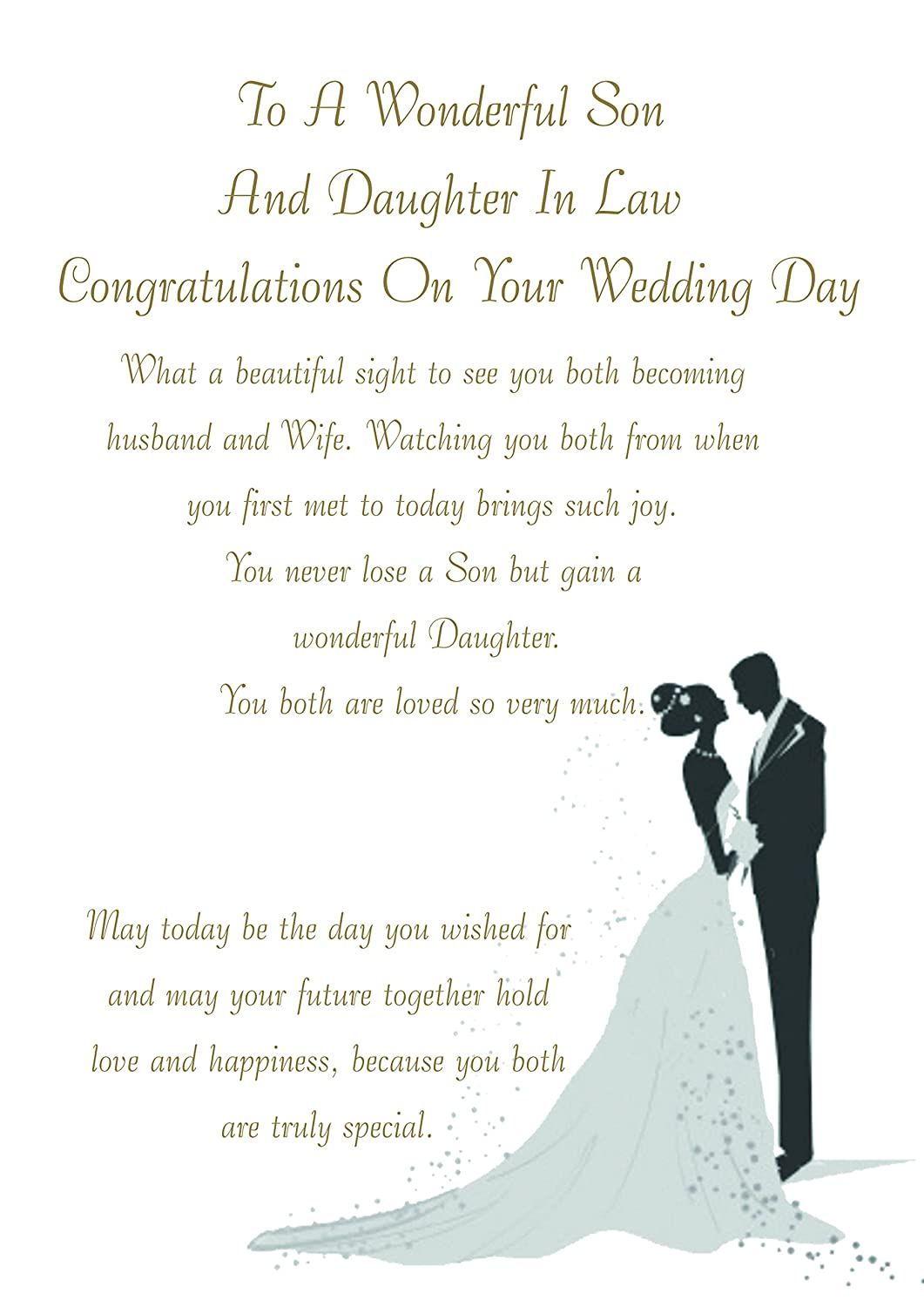 SON /& WIFE WEDDING DAY CARD ~ WEDDING CAR DESIGN  QUALITY CARD NICE VERSE