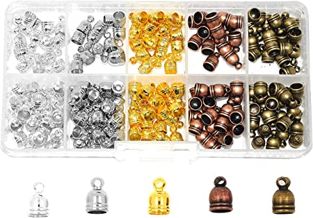 Gunmetal Mandala Crafts Metal Glue in Barrel End Caps Leather Cord Finding Kit for Kumihimo Jewelry and Tassel Making